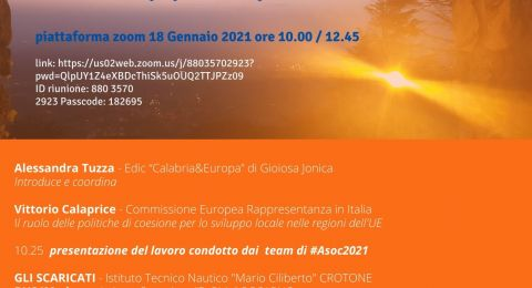 """18 Gennaio 2021:""""Al via il meeting 'EU in my life and in my territory'""""."""