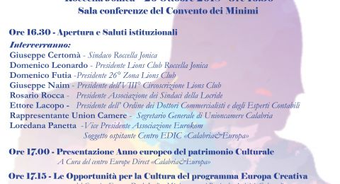 """26 Ottobre 2018:""""Al via l'incontro '2018...Anno europeo del Patrimonio Culturale'...se ne discuterà a Roccella Jonica"""" ."""